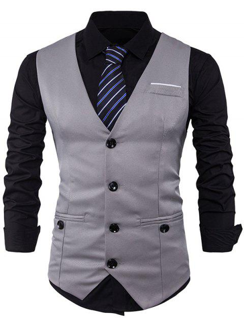 Belt V Neck Edging Button Up Waistcoat - LIGHT GRAY 2XL