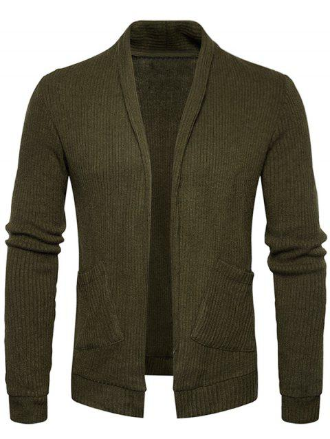 Pockets Knit Open Front Cardigan - ARMY GREEN 2XL
