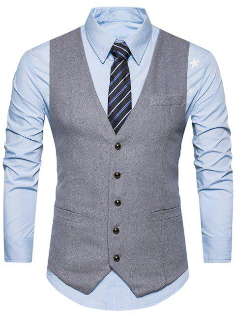 V Neck Belt Design Button Up Waistcoat - LIGHT GRAY XL