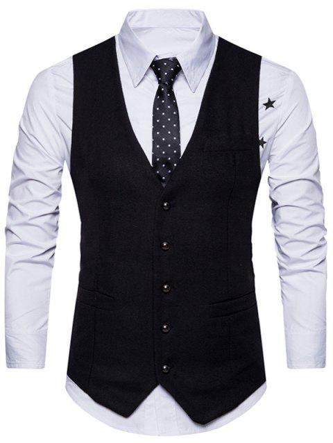 V Neck Belt Design Button Up Waistcoat - BLACK L
