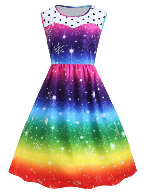 e5af6828f3fd Plus Size Christmas Snowflake Rainbow Printed Vintage Dress - COLORFUL 2XL