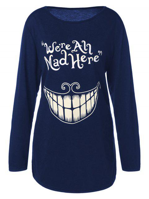 Plus Size Teeth and Letter Print T-shirt - DEEP BLUE XL