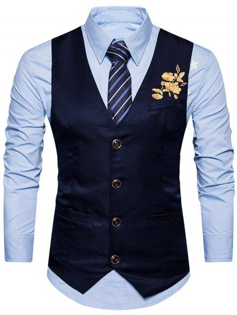 Single Breasted Floral Embroidered Waistcoat - CADETBLUE S