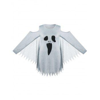 Halloween Plus Size Ghost Print Bat Wing Dress - GRAY 2XL