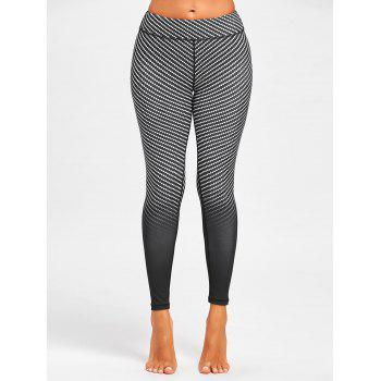 Argyle Printed Ombre Fitness Leggings - Noir L