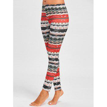Christmas Snowflake Tree Printed Leggings - FLORAL L