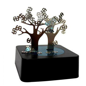 DIY Creative Puzzle Money Tree Shaped Magnetic Sculpture - BLACK BLACK