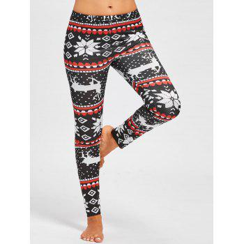 Christmas Snowflake ELK Slim Leggings - FLORAL M