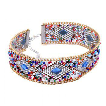 Rhinestones Embellished Colorful Wide Choker - COLORMIX
