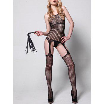 Cut Out Striped Sheer Bodystockings - BLACK BLACK
