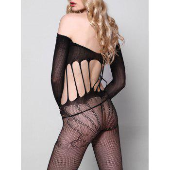 Off Shoulder Fishnet Bodystockings with Sleeves - ONE SIZE ONE SIZE