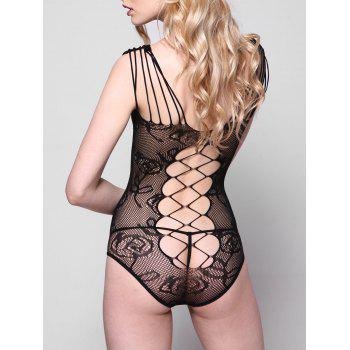 Fishnet See Through Teddy - BLACK ONE SIZE