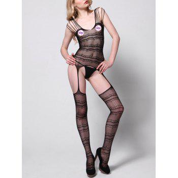 Cut Out Fishnet Bodystockings - BLACK BLACK