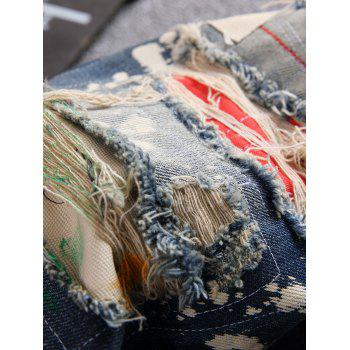 Patchwork Bleach Splatter Ripped Disressed Jeans - Bleu 40
