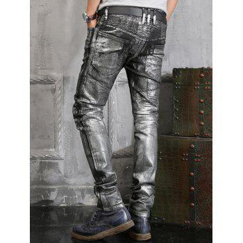 Zip Embellish Painted Slim Fit Biker Jeans - Noir 34