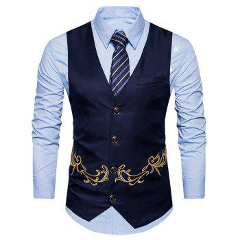 Single Breasted Embroidered Belt Waistcoat