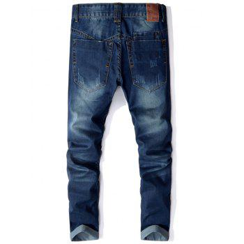 Scratched Straight Leg Mid Waist Jeans - 38 38