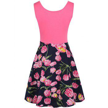 Sleeveless Fit and Flare Floral Print Dress - S S