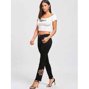 Floral Embroidered Zipper Fly Jeans - BLACK S