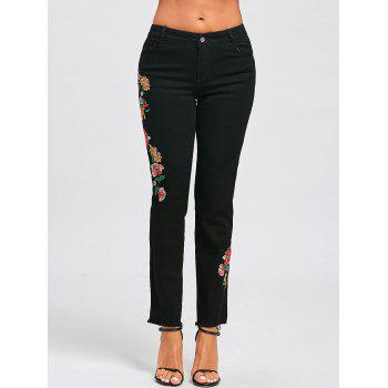 Floral Embroidered Zipper Fly Jeans - S S