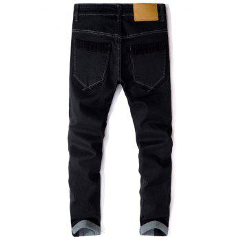 Straight Leg Corduroy Panel Jeans - BLACK 32