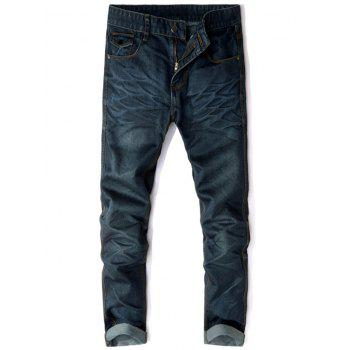 Straight Leg Zip Fly Pockets Jeans - DEEP BLUE 32