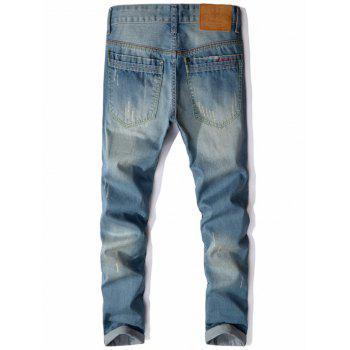 Zipper Pocket Straight Leg Distressed Jeans - Bleu clair 32