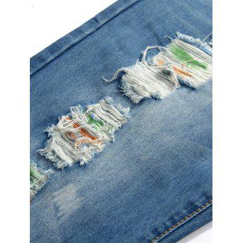 Straight Leg Colored Distressed Jeans - BLUE 36