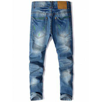 Straight Leg Colored Distressed Jeans - 36 36
