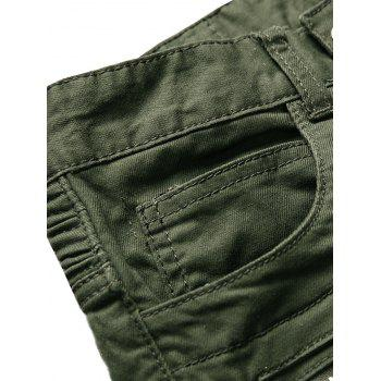 Zip Ribbed Moto Cargo Jeans - GREEN 40