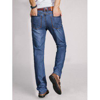 Straight Leg Faded Wash Slim Fit Jeans - BLUE 36
