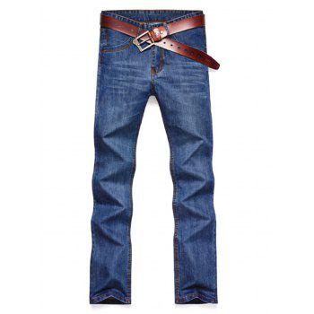 Straight Leg Faded Wash Slim Fit Jeans - BLUE 38