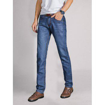 Straight Leg Faded Wash Slim Fit Jeans - 40 40