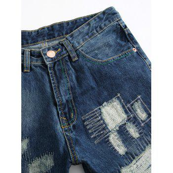 Zig Zag Stitched Ripped and Repair Jeans - 30 30