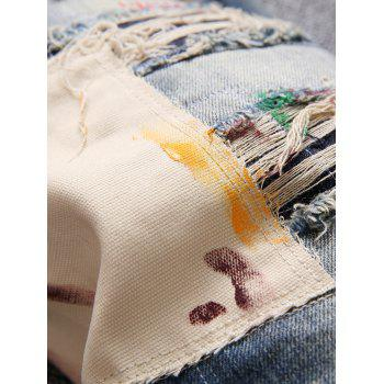 Patchwork Bleach Splatter Ripped Disressed Jeans - BLUE 32