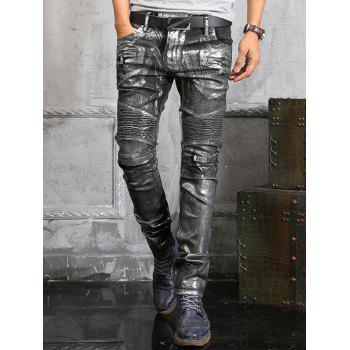 Zip Embellish Painted Slim Fit Biker Jeans - BLACK 30