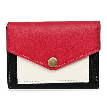 Bi Fold Contrasting Color Wallet - RED RED