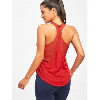 Mesh Insert Racerback Layering Tank Top - RED RED
