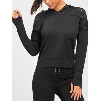 Sports Breathable Sheer Hooded T-shirt - BLACK M