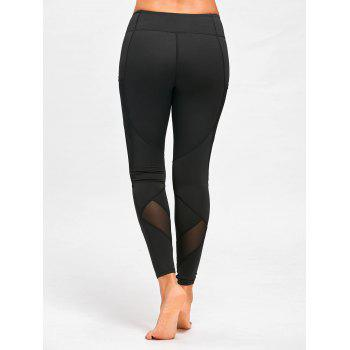 Mesh Panel Yoga Leggings with Pockets - BLACK M