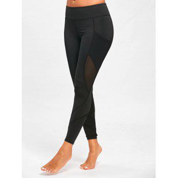 Mesh Panel Yoga Leggings with Pockets - BLACK BLACK