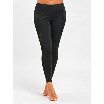 Mesh Panel Yoga Leggings with Pockets - BLACK L