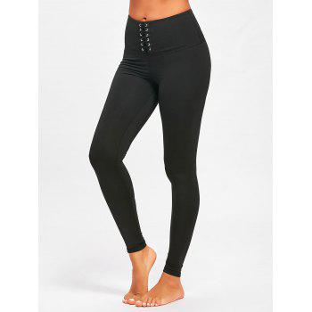 Criss Cross High Rise Sports Leggings - BLACK M