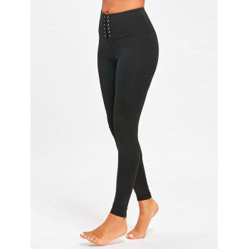 Criss Cross High Rise Sports Leggings - BLACK L