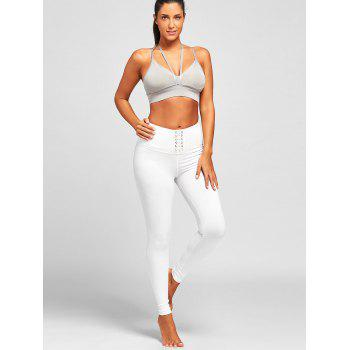 Criss Cross High Rise Leggings de sport - Blanc L