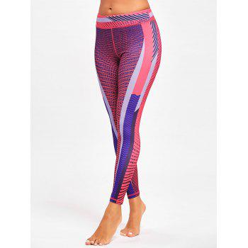 Colorful Stripe Funky Gym Leggings - ROSE RED S