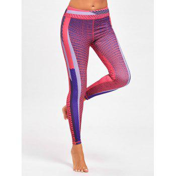 Colorful Stripe Funky Gym Leggings - ROSE RED L