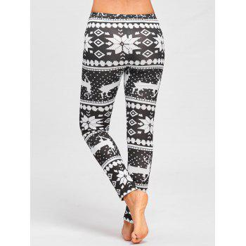 Christmas Deer Snowflake Pattern Leggings - BLACK WHITE BLACK WHITE