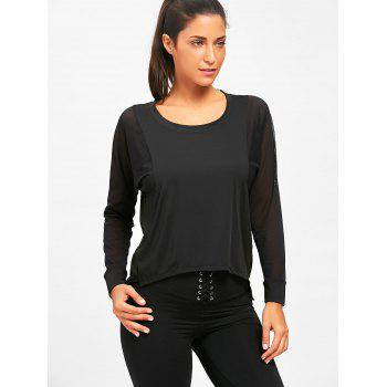 Sheer Mesh Panel Sports T-shirt - BLACK M
