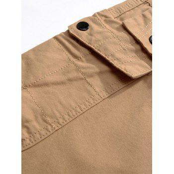 Casual Multi Pockets Zip Fly Straight Pants - Kaki 32